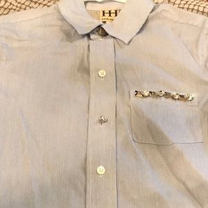 Haute Hippie Embellished Button Down Shirt